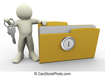 3d man with protected folder - 3d render of man with ...