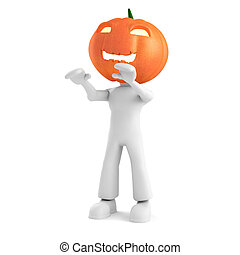 3d man with pumpkin head, isolated on white
