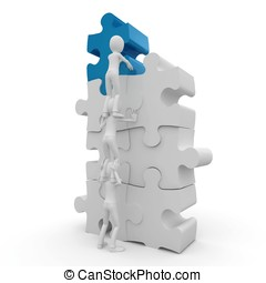 3d man with puzzle