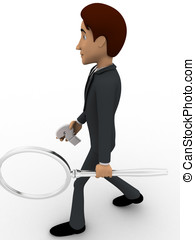 3d man with question mark and magnifying glass concept