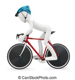 3d man with race bike on white background