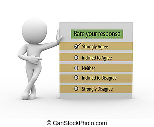 3d man with rate your response questionnaire - 3d rendering...