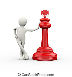 3d man with red big chess piece