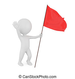 3d man with red flag