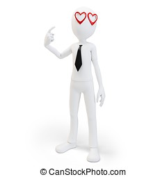 3d man with red hearts in his eyes , love concept