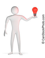 3d man with red light bulb on his palm