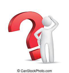 3d man with red question mark over white background