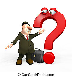 3D man with red question mark isolated on white background.