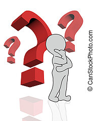 3d man with red question marks over white background made in 3d software