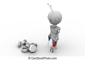 3d man with repairing concept