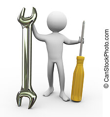 3d man with repairing tools - 3d man holding screw driver...