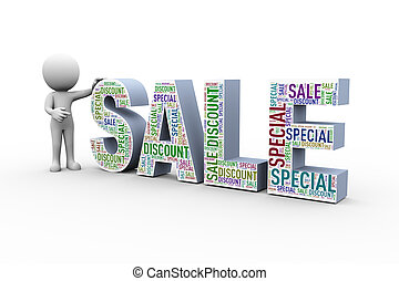 3d man with sale special discount wordcloud