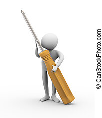 3d man holding screw driver on white background