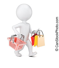 3D man with shopping bags and cart isolated on white...