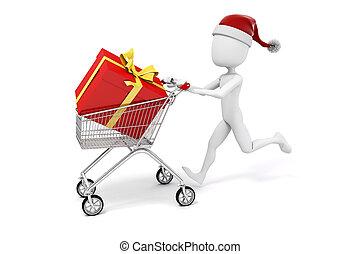 3d man with shopping cart