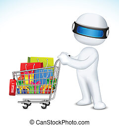 3d Man with Shopping Cart