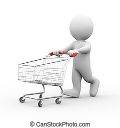3d man with shopping cart trolley - 3d illustration of man ...