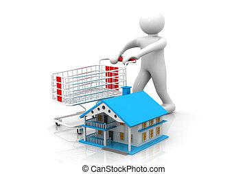3d man with shopping cart with home , Shopping for a home