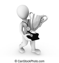 3d man with silver cup.