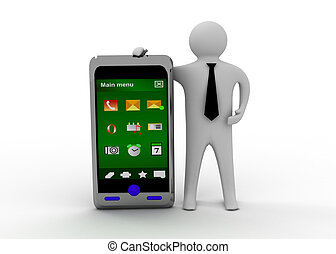 3d man with smartphone