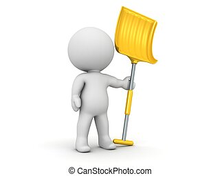 3D Man with Snow Shovel - 3D character with a large yellow ...