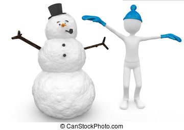 3d man with snowman