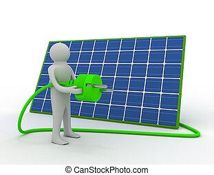 3d man with solar panel