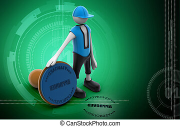 3d man with stamp