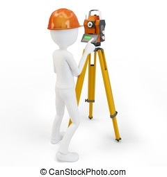 3d man with station surveying isolated on white