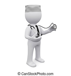 3D man with stethoscope