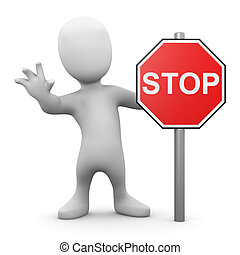 3d Man with stop sign - 3d render of a little man with a...