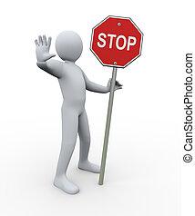 3d man with stop symbol