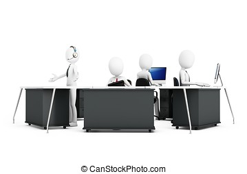 3d man with support team at call center