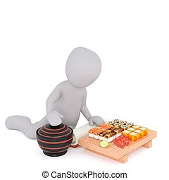 3d man with sushi