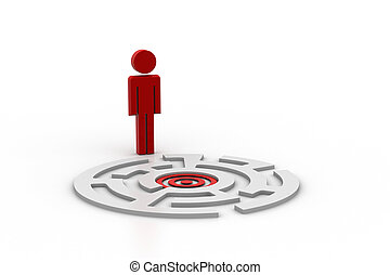 3d man with target labyrinth