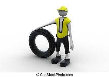 3d man with tire