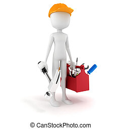 3d man with tools box on white background