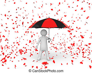 3d man with umbrella under falling