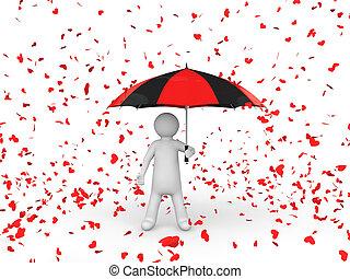 3d man with umbrella under falling