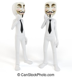 3d man with vendetta mask anonymous face on white background