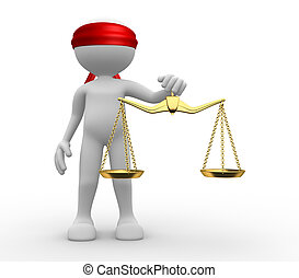 3d man with weight scale. Symbol of justice.
