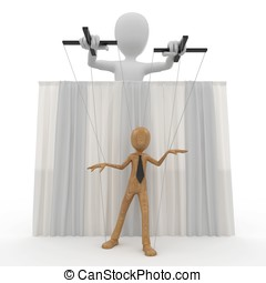 3d man with wooden string puppet - 3d man with string puppet...