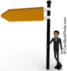 3d man with yellow sign board concept