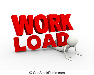 3d illustration of man under work load burden text. 3d human person character and white people