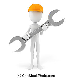 3d man worker, isolated on white background