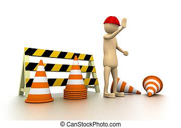 3d man worker STOP