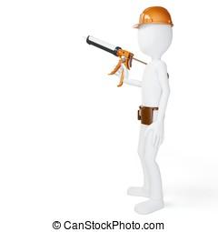 3d man worker with caulk gun