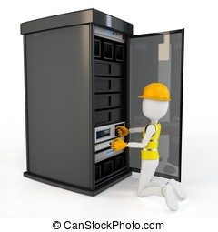 3d man worker with server rack on white background