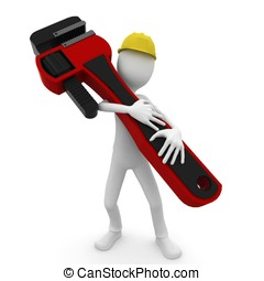 3d man worker with wrench