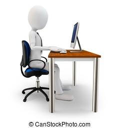 3d man working at computer
